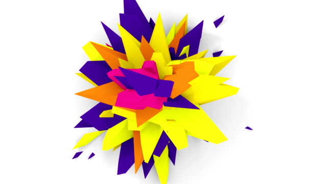 4K. Abstract Digital Flower. Version With Orange, Yellow And Pirple Colors. Seamless Looped. video