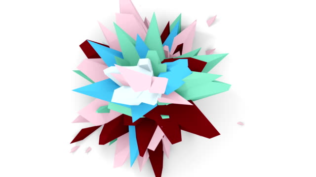 4K. Abstract Digital Flower. Version With Pink, Brown And Blue Colors. Seamless Looped. video