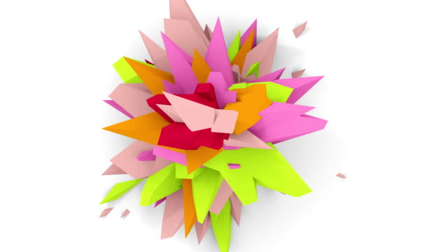 4K. Abstract Digital Flower. Version With Pink, Green And Orange Colors. Seamless Looped. video