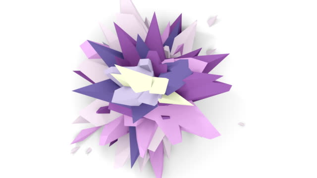 4K. Abstract Digital Flower. Version With Pink, Grey And Purple Colors. Seamless Looped. video