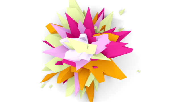 4K. Abstract Digital Flower. Version With Pink, Red And Green Colors. Seamless Looped. video
