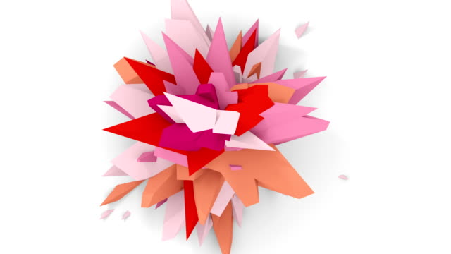4K. Abstract Digital Flower. Version With Pink, Red And Orange Colors. Seamless Looped. video
