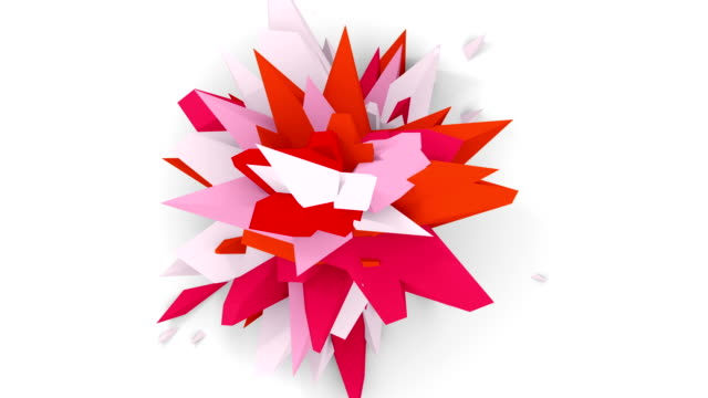 4K. Abstract Digital Flower. Version With Pink, White And Red Colors. Seamless Looped. video