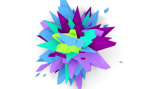 4K. Abstract Digital Flower. Version With Purple, Cyan And Blue Colors. Seamless Looped. video