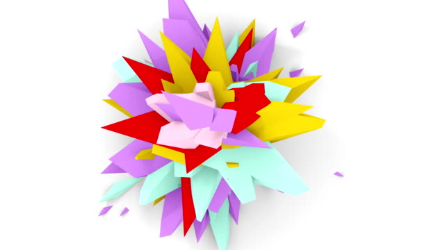 4K. Abstract Digital Flower. Version With Red; Purple And Yellow Colors. Seamless Looped. video