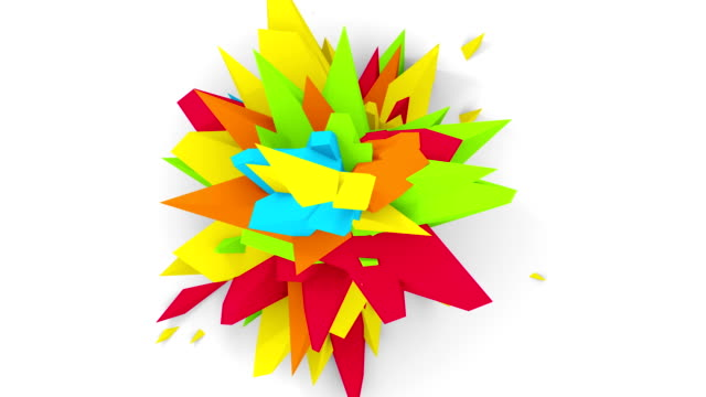 4K. Abstract Digital Flower. Version With Red, Yellow And Green Colors. Seamless Looped. video