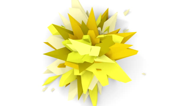 4K. Abstract Digital Flower. Version With Yellow And Green Colors. Seamless Looped. video