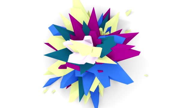 4K. Abstract Digital Flower. Version With Yellow, Blue And Purple Colors. Seamless Looped. video
