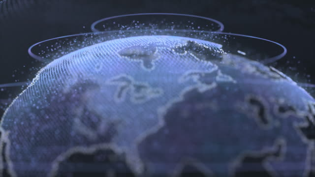 vídeos de stock, filmes e b-roll de terra abstrata do globo de digitas - punhado