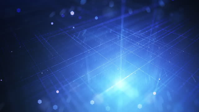 Abstract Digital Grid - Loopable Background Animation - Blue