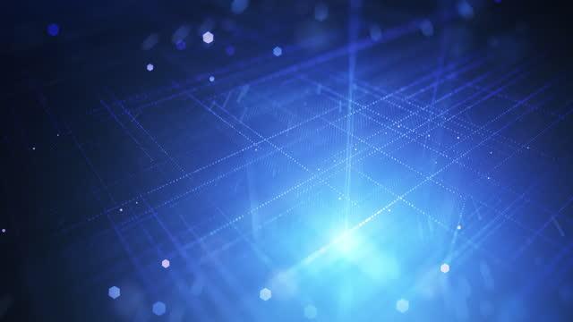 추상디지털 그리드 - 루프 가능한 배경 애니메이션 - 블루 - abstract background 스톡 비디오 및 b-롤 화면