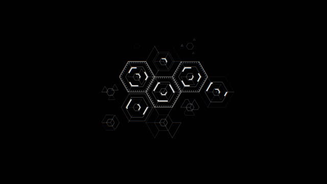 abstract digital hexagon icons drawing on black background filling the screen. digital technology 3d animation. - esagono video stock e b–roll