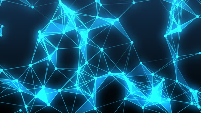 Abstract digital network and connection paths.Animation for visuals, motion background.Blue network shape. Computer generated abstract.Technology futuristic background