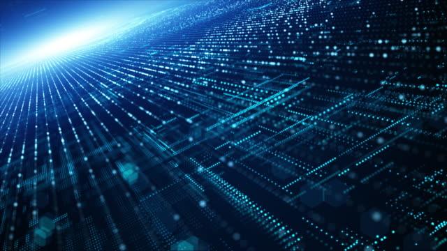 vídeos de stock, filmes e b-roll de fluxo de partículas digitais abstratas, ciberespaço digital, tecnologia digital de conexão digital. - criação digital