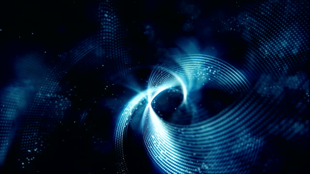 ドットとモーション背景のライン抽象デジタル粒子波の流れ - 斑点点の映像素材/bロール