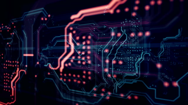 Abstract digital technology background circuit board video