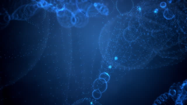 Abstract DNA String on Blue Background