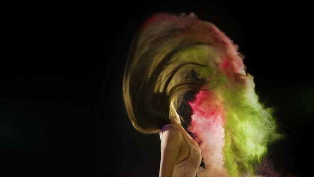 Abstract Dreamy Fashion Powder Paint Girl Hair Abstract Dreamy Fashion Powder Paint Girl Hair hair stock videos & royalty-free footage