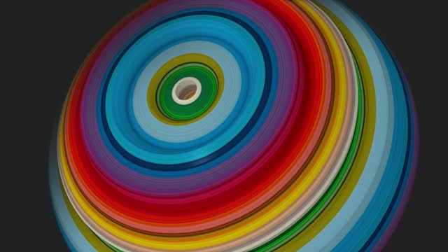 Abstract Dynamic patterns of rainbow color circles with displacement effect and circular motion. Colorful abstract circular rings, Use for your any presentation projects.4k . 3D animation, 3D render.