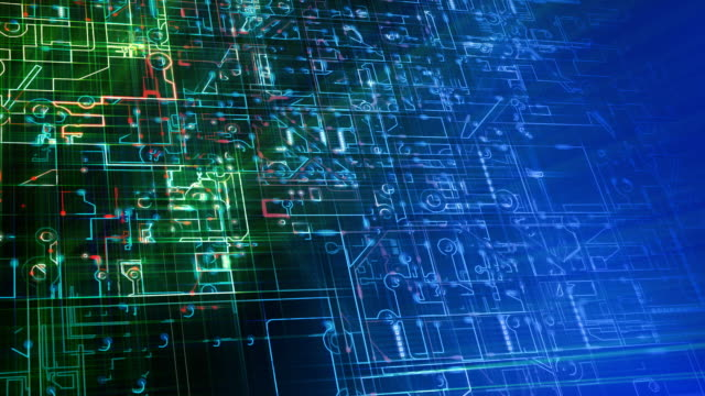 抽象的な電子回路ループ。青、緑、赤です。 - エレクトロニクス産業点の映像素材/bロール
