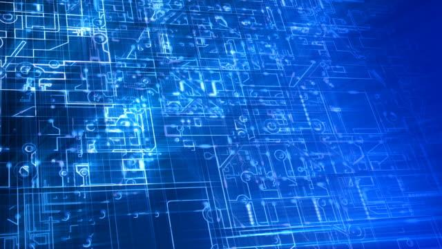 抽象的な電子回路ループ。ブルーます。 - 半導体点の映像素材/bロール