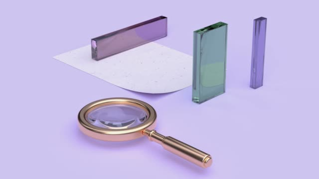 abstract equipment object concept gold magnifying glass 3d rendering motion pastel color scene abstract equipment object concept gold magnifying glass 3d rendering motion pastel color scene glass material stock videos & royalty-free footage