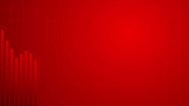 vídeos de stock, filmes e b-roll de carta financeira abstrata com gráfico de linha de tendência baixa movente no mercado de baixa no fundo vermelho da cor - mover para baixo