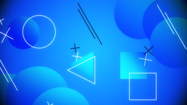Abstract Flat shape cartoon Style Neon and Line Animation
