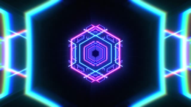 abstract flight in a hexagonal tunnel in retro futuristic style, 3d seamless loop animation - grafika animowana filmów i materiałów b-roll