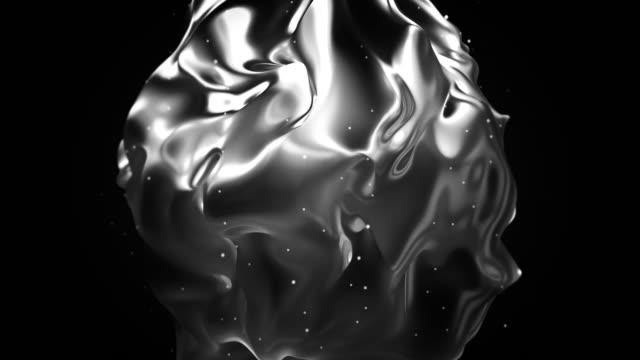 vídeos de stock e filmes b-roll de abstract flowing shape animation - cromo metal