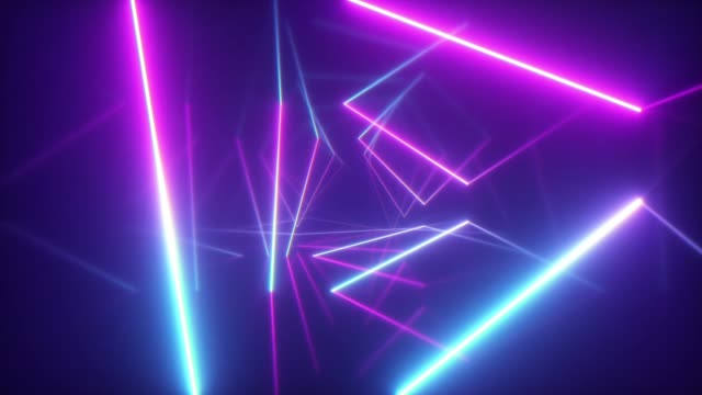 Abstract flying in futuristic corridor with triangles, seamless loop 4k background, fluorescent ultraviolet light, colorful laser neon lines, geometric endless tunnel, blue pink spectrum, 3d render Abstract flying in futuristic corridor with triangles, seamless loop 4k background, fluorescent ultraviolet light, colorful laser neon lines, geometric endless tunnel, blue pink spectrum, 3d render loopable elements stock videos & royalty-free footage