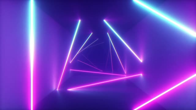 Abstract flying in futuristic corridor with triangles Abstract flying in futuristic corridor with triangles, seamless loop 4k background, fluorescent ultraviolet light, colorful laser neon lines, geometric endless tunnel, blue pink spectrum, 3d render eternity stock videos & royalty-free footage