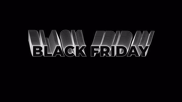 에코 효과추상 비행 텍스트 블랙 프라이데이 - black friday 스톡 비디오 및 b-롤 화면