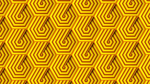 Abstract footage with moving yellow striped hexagonal pattern. Optical illusion futuristic backdrop. Digital seamless loop animation. 3d rendering. 4K, Ultra HD resolution Abstract footage with moving yellow striped hexagonal pattern. Modern geometric background. Ornate mosaic design. Optical illusion futuristic backdrop. Digital seamless loop animation. 3d rendering. 4K, Ultra HD resolution art deco architecture stock videos & royalty-free footage