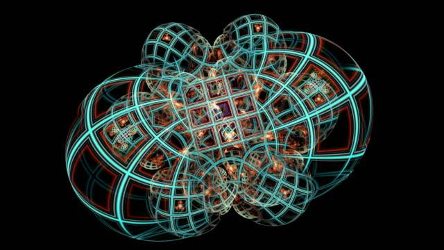 創造的なデザインの抽象的なフラクタル映像 - 鎖の輪点の映像素材/bロール