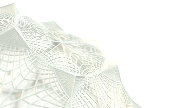 Abstract fractal wire 3D model rotation. Animation seamless loop video.