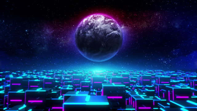 Abstract futuristic city space planet motion background