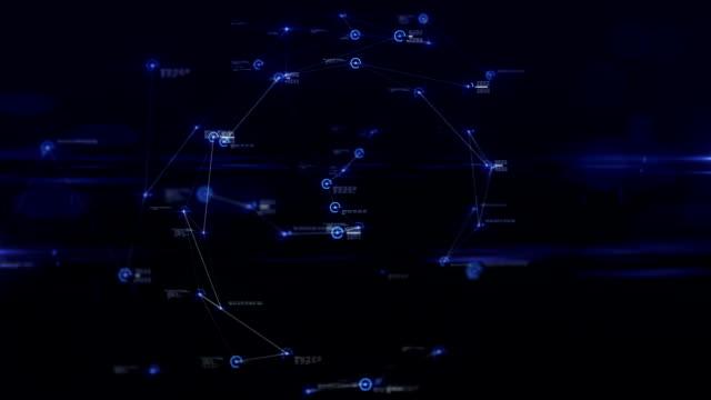 stockvideo's en b-roll-footage met abstracte futuristische gegevensverbindingen in cyber-ruimte, flying naar cyber ruimte, technologie concept - visuele hulpmiddelen