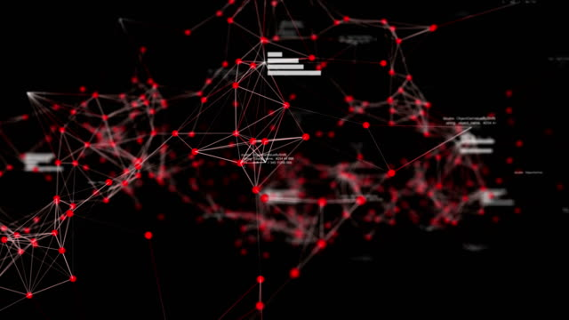 Abstract Futuristic Data Network in Cyber Space with Random Text and Charts, Technology Concept Abstract Futuristic Data Network in Cyber Space with Random Text and Charts, Technology Concept. Red color theme. high scale magnification stock videos & royalty-free footage