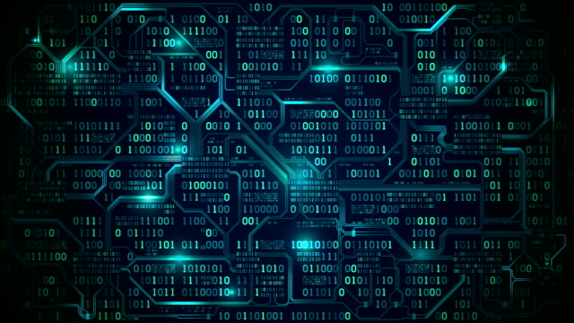 Abstract futuristic electronic circuit board with binary code, neural network and big data - an element of artificial intelligence, seamless loop