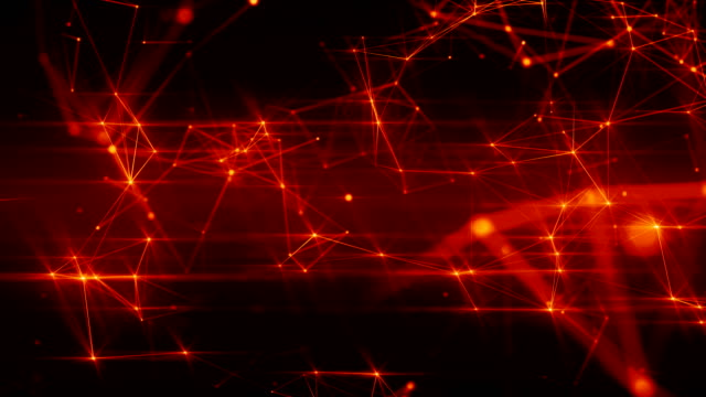 Abstract futuristic loopable animation of fiery red surface with connecting dots