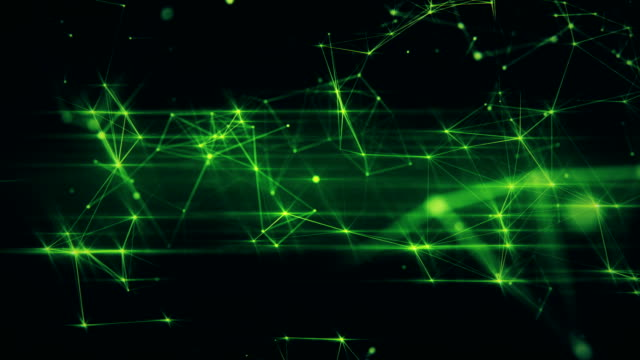 Abstract futuristic loopable animation of green surface with connecting dots