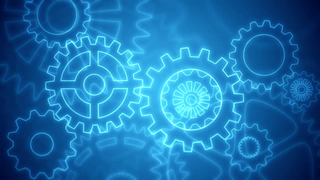 Abstract gears background loopable blue drawing video