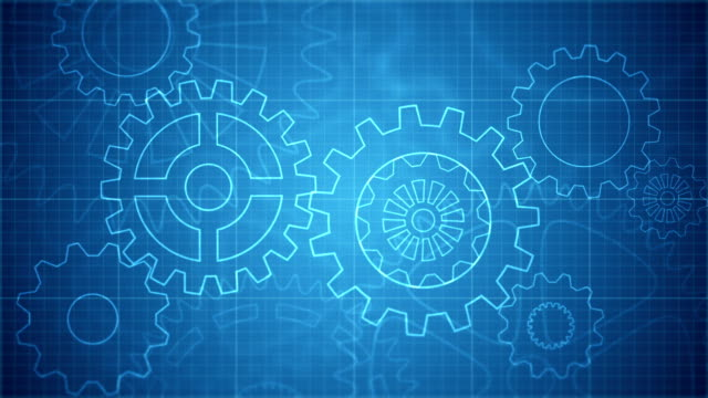Abstract gears blueprint background loopable video