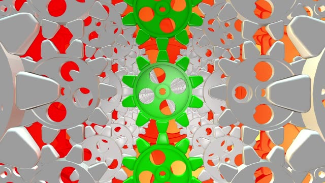 Abstract gears on a orange video