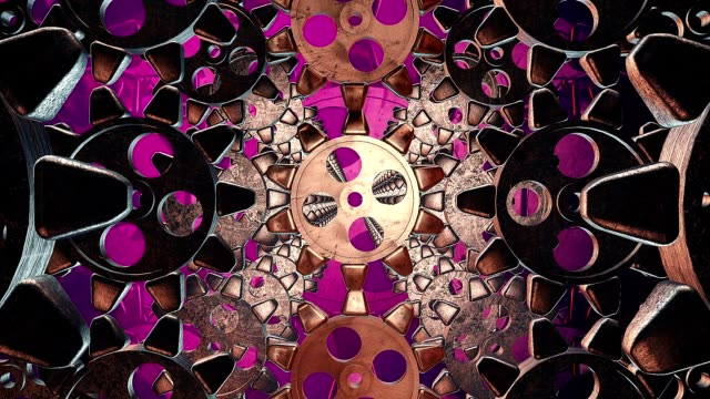 Abstract gears on a purple video