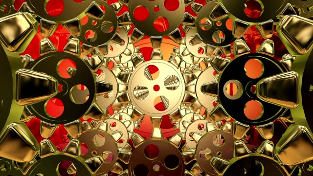 Abstract gears on a red video
