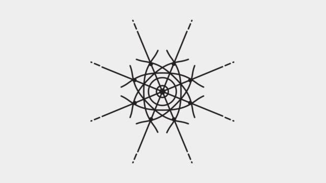 abstract geometric animation, mandala, dreamcatcher - dark elements on grey background - мандала стоковые видео и кадры b-roll