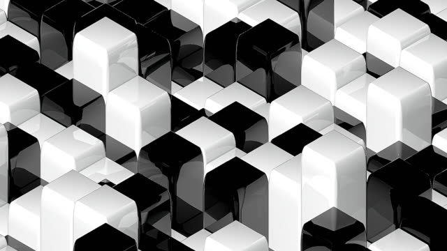 Abstract geometric back and white cubes, optical Illusion, computer generated 3D rendering backdrop video