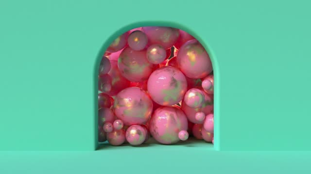 abstract geometric background many sphere gold pink ball 3d rendering